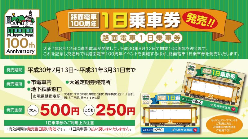 札幌市電100周年きっぷ