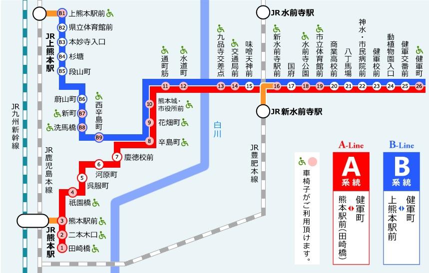 熊本路面電車路線図
