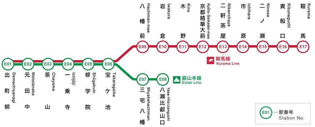 叡電1日乗車券フリーエリア