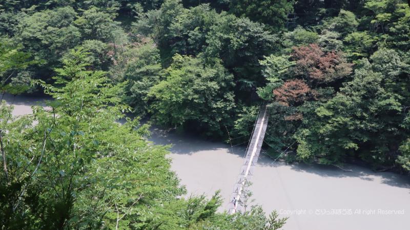 急な階段から見る夢の吊橋