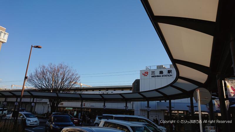 無料シャトルバス乗り場から三島駅