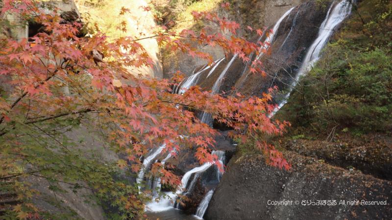 袋田の滝壺と紅葉