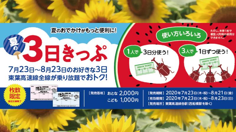 夏の3日きっぷ東葉高速鉄道