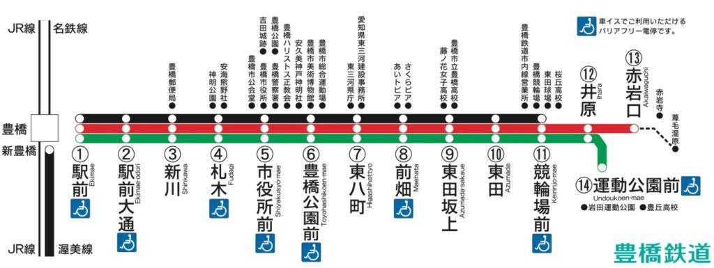 豊橋鉄道市内線路線図